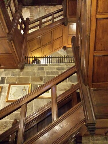 "The main staircase in one of the towers at  Langley Castle houses a prime example of a ""guarderobe"" which is basically a medieval latrine."