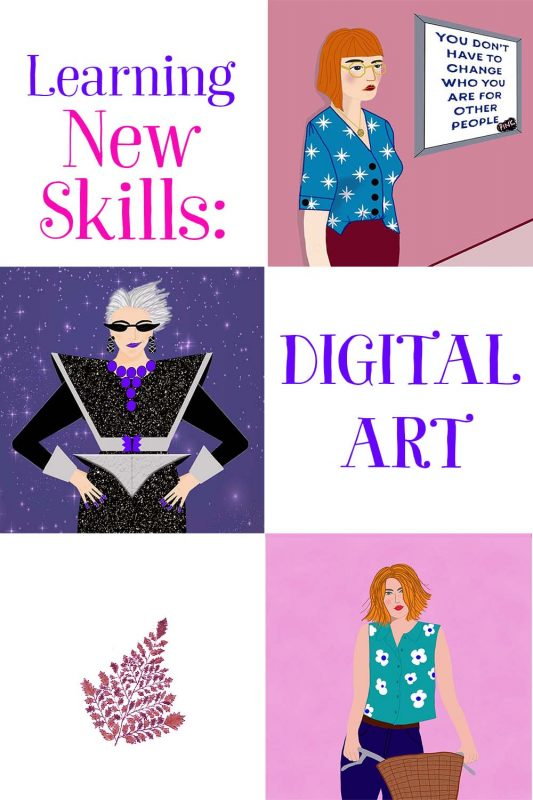 examples of digital art created online following classes from Skillshare.com