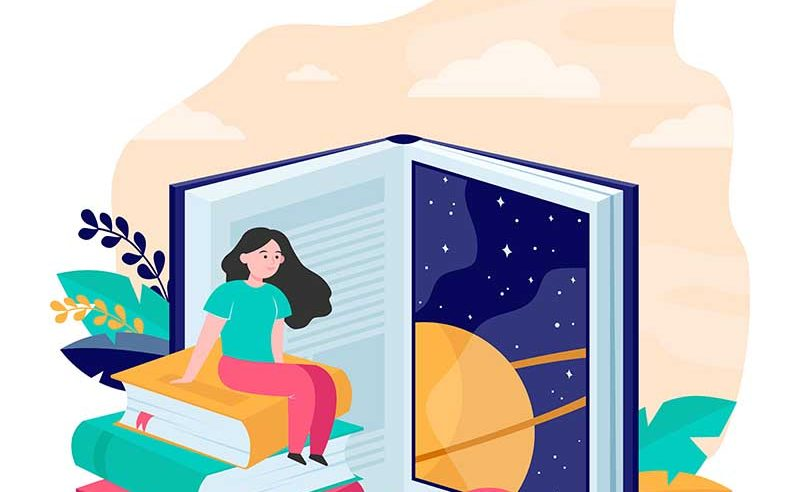 Tiny woman sitting on huge book flat vector illustration. Big book door to knowledge, new world and experience. Literature, skill and experience concept