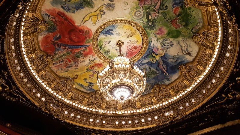 Palais Garnier ceiling of auditorium painted by the artist Marc Chagall