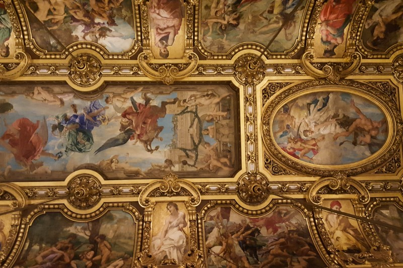 Detail of the ceiling in the Grand Foyer, Palais Garnier. Artist Paul Baudry.